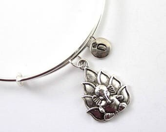 GANESH bangle, silver tone Ganesh bracelet, Ganesh charm, initial bracelet, adjustable bangle, personalized jewelry, swarovski birthstone