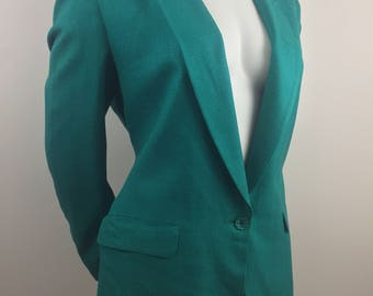 Vintage Mark Shale Emerald Green Blazer with Herringbone Texture/Size 12 Large