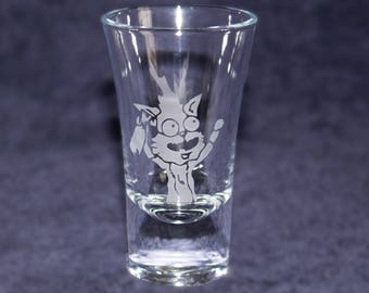Squanchy etched SHOT GLASS - Rick and Morty - Custom shot glasses for him her girlfriend boyfriend - gift - Novelty present