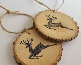 Reindeer wood slice Christmas ornament / gift tag