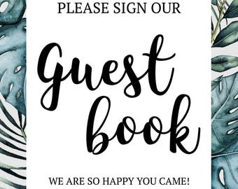 Digital Watercolor Green Leaves Guest Book Sign- INSTANT DOWNLOAD