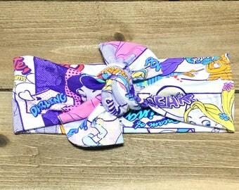Princess Headband- Disney Princess Headband; Disney Headband;  Baby Headwrap; Baby Head Wraps; Tie Knot Headband; Girls Headbands; Top Knot