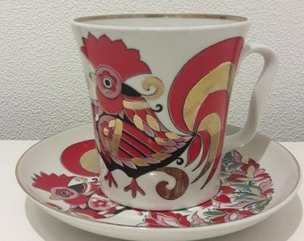 Lomonosov Soviet Vintage Porcelain Tea/Coffee Cup with Saucer, Red-Gold Rooster, Golden Rim, Hand Painted USSR