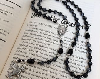 Snowflakes Obsidian and Black Onyx Gemstone Five decade Rosary with Miraculous Medal