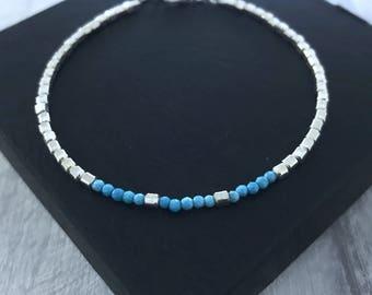 TURQUOISE BRACELET/Turquoise Bead Bracelet/December Birthstone/Turquoise Jewellery/Blue Stone Bracelet/Gemstone Bracelet/Yoga Bracelet