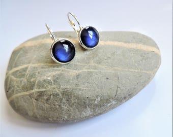 Earrings cabochon blue ღ ღ varnish