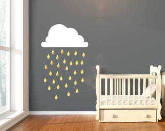 Large Cloud & Gold Raindrop Wall Stickers