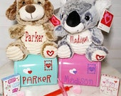 QUICK SHIP! Personalized Valentine's day stuffed animal and mailbox. Children's gift. Custom stuffed animal. Vday gift