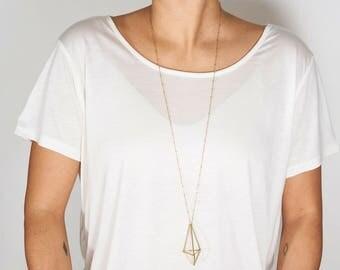 Halskette Mini Octahedron Golden Messing geometrisch modern minimal schmuck