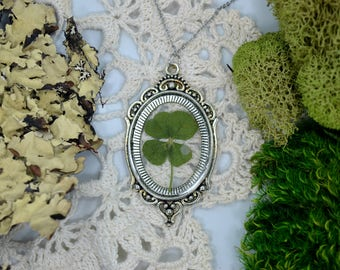 Genuine 4 Leaf Clover Cameo Necklace [LC 028] / Stainless Steel / White Clover Pendant / Triforium Repens Gift / Good Luck Charm