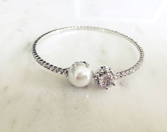 Pearl Crystal Silver Open Cuff Expandable Bracelet