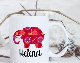 Personalised Elephant Mug - Elephant Coffee Mug - Elephant Mug for Her - Custom Coffee Mug - Custom Elephant Mug