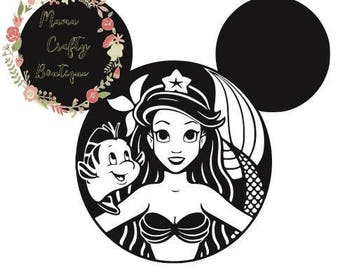 Ariel Mickey Ears SVG, PNG, DXF