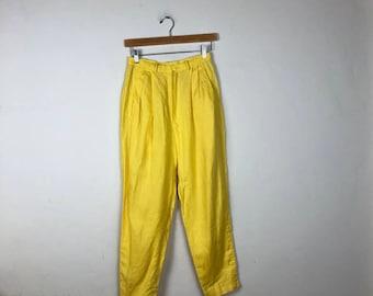 80s High Waist Yellow Pants Size 26, Yellow Linen Pants