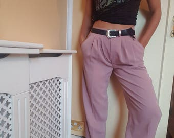 Vintage 80s Pink High Waisted Tapered Trousers