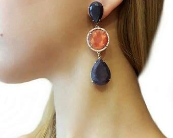 Blue earrings for women, navy blue earrings, gemstone jewelry, boho jewelry, dangle earrings, gift for girlfriend, statement, boho earrings