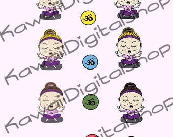 Yoga Girl Ponytail Digital Stickers INSTANT DOWNLOAD