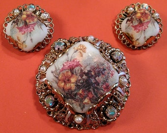 "Vintage, ""West Germany"" Broach And Earrings. Beautiful!! Lot J"