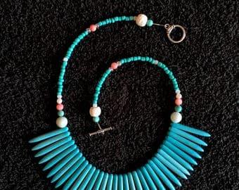 Blue Spike Necklace, Lava Rock Necklace, Turquoise Color Necklace, Tribal Necklace, Spike Necklace,