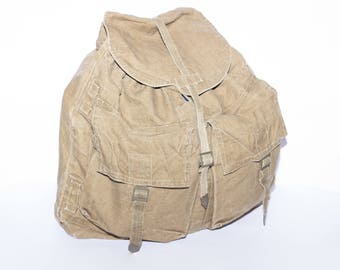Canvas Backpack, Vintage Hipster Military Backpack, Militry Khaki Canvas Rucksack, Army Haversack, Vintage Backpack, Military Canvas Bag