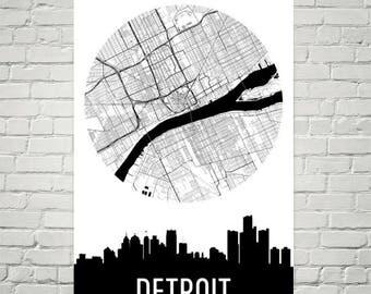 Detroit Skyline, Detroit Map, Detroit Skyline Art, Detroit Canvas Art, Detroit City Map, Detroit MI, Detroit Michigan, Print, Poster, Art