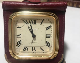 Seiko Leather Travel Clock