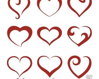 Scroll Heart Photoshop Brush Set, Heart Brush, Photoshop Brushes, Digital Brushes, Heart, Love, Valentine, Photoshop, Scrapbook, Wedding