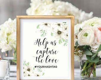Hashtag Sign Printable, Wedding Hashtag Sign, Social Media Sign, Rustic Wedding,  Floral Watercolor, Watercolor Anemone #A001