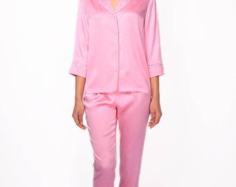 Long silk pyjama set Silk pajama set Silk pajamas Pink pajamas Luxury sleepwear Silk loungewear Gift for her