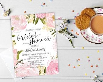 Watercolor Bridal Shower invitation, Bridal shower invitation, Rustic bridal shower invitation, Floral Bridal Shower - US_BI0307