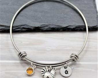 Chicken Bracelet - Personalized Initial & Birthstone - Farm Animal Jewelry - Chicken Jewelry for Women - Chicken Lover Farm Themed Gift Idea