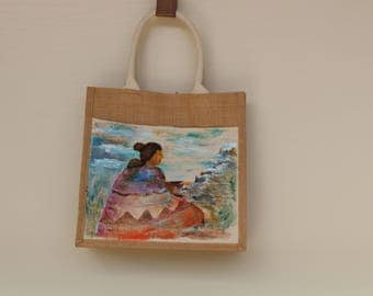 Hand painted Native American Tote