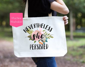 Nevertheless She Persisted Tote Bag, She Persisted Tote Bag, She Was Warned, Elizabeth Warren, Women's Rights, Feminist Tote, Let Liz Speak