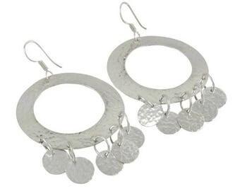 Large hoop earrings in Sterling Silver 7 cm