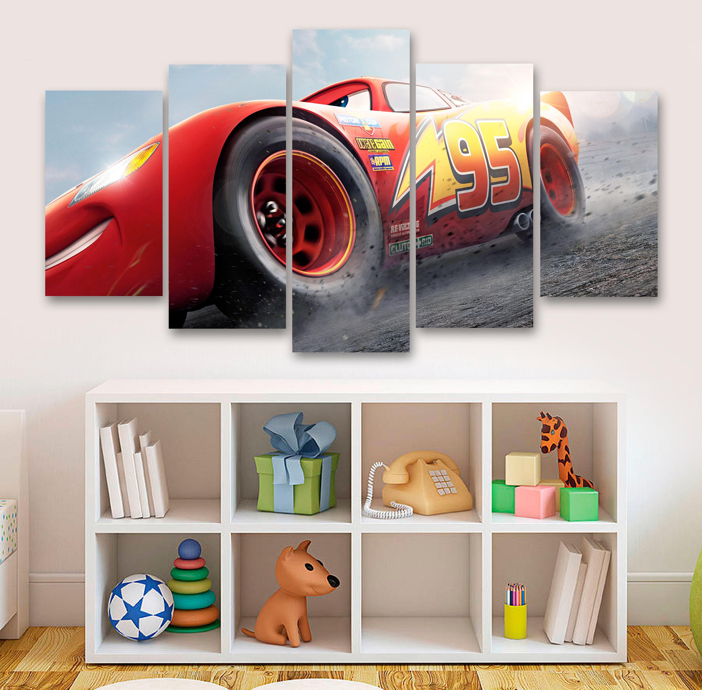 Cars 3, Lightning McQueen 5 Panel Canvas, 5 Piece Canvas, Wall Art,