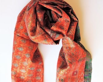 Upcycled, one-of-a-kind Vintage Kantha Silk Sari Scarf  - Burnt Orange/Green