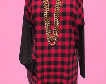 flannel raglan/flannel tee/flannel knit top/fab208nyc/red black flannel/long sleeve tee/fab208/flannel sweater combo