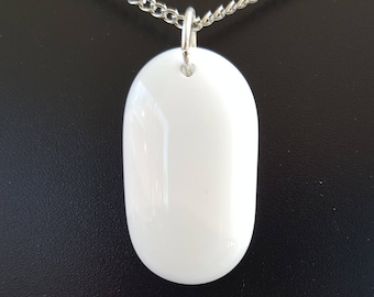 White Oval Glass Necklace