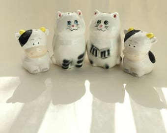 Adorable Vintage Cow and Cat Salt and Pepper Shakers Lot of 2 Lefton China Numbered Japan