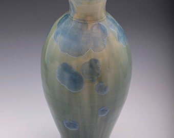 Green and Blue Crystalline Vase