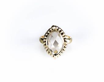Brass ring 18 k gold plated little Miss Pompadour