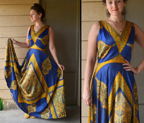 When in Rome Dress | vintage 60's royal blue and gold evening gown | Large XL