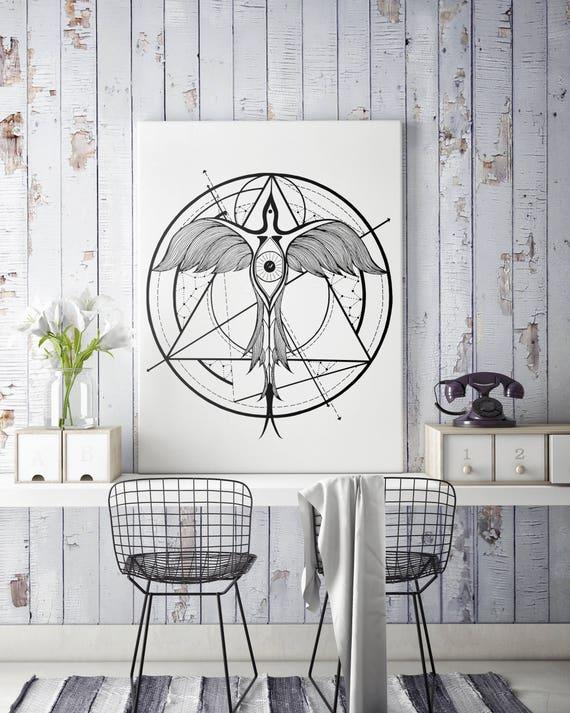 Phoenix ascending | Framed canvas| Geometrical art | Black and white wall art| Alchemy | Living Room wall decor| Horus Third Eye | ZuskaArt