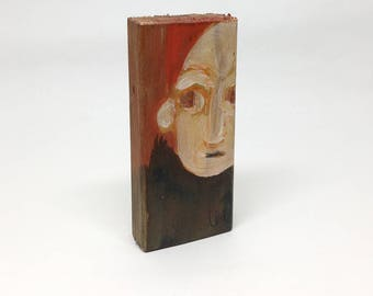Small painting on wood, decorative, gift - portrait