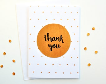 Thank You Card A6 - Hand Made - Polka Dots