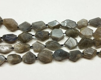 Faceted Labradorite Flat Nuggets approx 12mm 15.5""