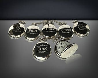 13 Personalized Pocket Watches - 13 Groomsman engraved gifts - Personalize gift engraved watch - Usher & Officiant gift - Wedding gift set