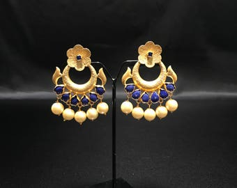 Indian Earrings - Indian Jewelry - Pakistani Earrings - Bollywood Earrings - Blue Earrings - Temple Earrings - Polki Earrings - Kundan -