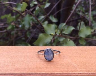 Natural Moonstone Ring / Sterling Silver Ring Size 8 / Rainbow Moonstone Stack Ring / Little Moonstone Ring / Silver Moonstone Ring