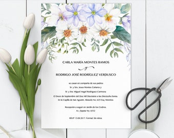 Invitaciones de Boda, Spanish Wedding Invitation, editable, White Blooms Print at home, imprime en casa, DIY, Invitación en español